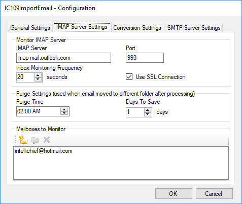 Email Import IMAP Connector